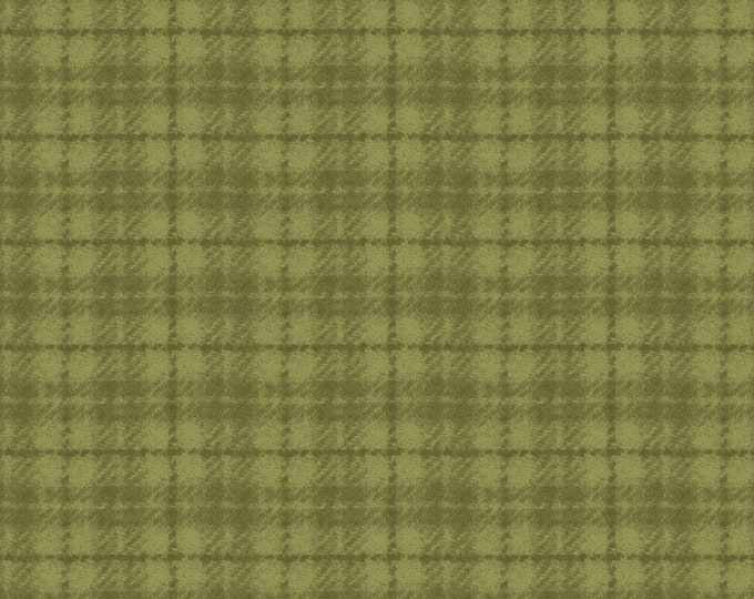 Maywood Woolies Green on Green 1 Inch Open Plaid FLANNEL Fabric 18502-G BTY