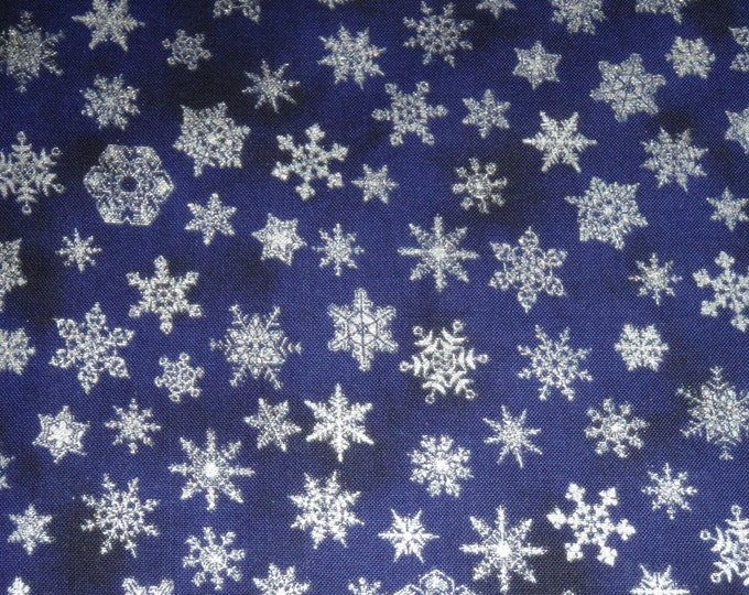 Holiday Accents Dark Blue Silver Metallic Little Snowflake Christmas Fabric BTY