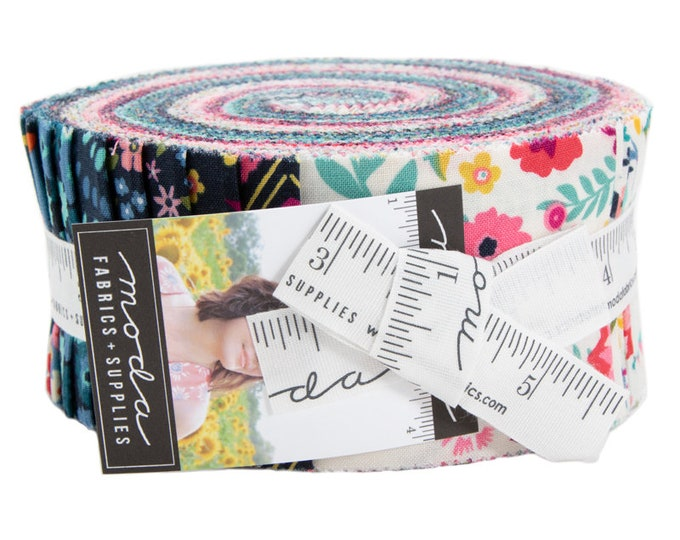 Moda Rosa Crystal Manning Floral Teal Pink Navy Blue Magenta Jelly Roll 2.5 Fabric Strips