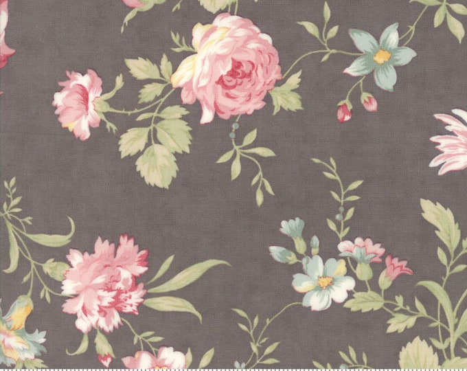 Moda POETRY Grey Gray Pink Large Rose Floral 3 Sister's Shabby Fabric 44130-12 BTHY