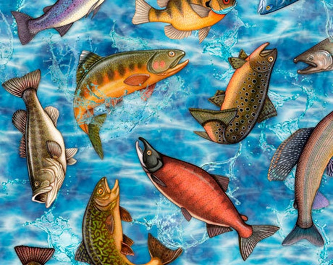 Quilting Treasures Fresh Catch Dan Morris Fishing Fish Trout Bass Salmon Blue Fabric 27205-B BTY