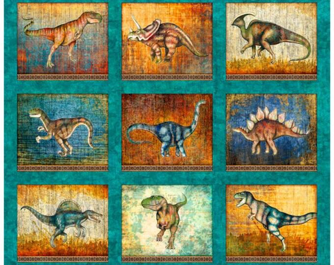 Quilting Treasures Lost World Realistic Dinosaur Dan Morris Teal Beige 1 Yard Panel 26797-Q