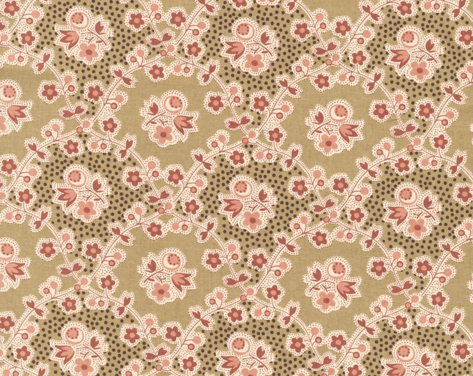 RJR Chocolate & Bubble Gum Pink Brown Floral Vine Civil War Fabric 2724-002 BTHY