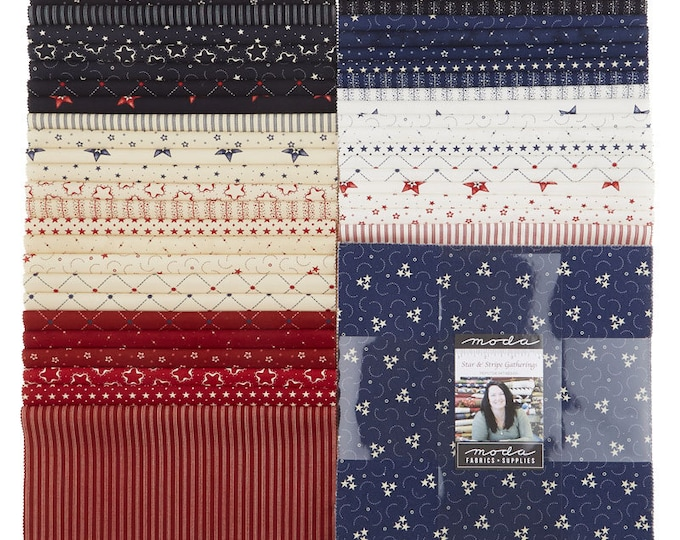 Moda Star and Stripe Gatherings Primitive Gatherings Patriotic Red White Blue Layer Cake 42 Fabric 10 Inch Squares