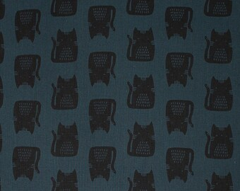 Andover Maker Maker Cotton Canvas Linen Blue Black Cat Kitty Fabric 8454-B BTY