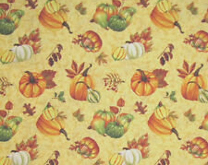 Wilmington Prints Harvest Abundance 28055 578W Cotton Fabric by Jane Maday  Pumpkins and Leaves BTY