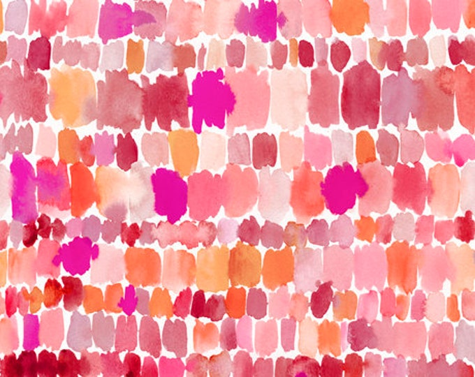 Quilting Treasures QT Fabrics Wild & Fruity Brush strokes Paint Splashes Pink Orange Fabric 27047-P BTY