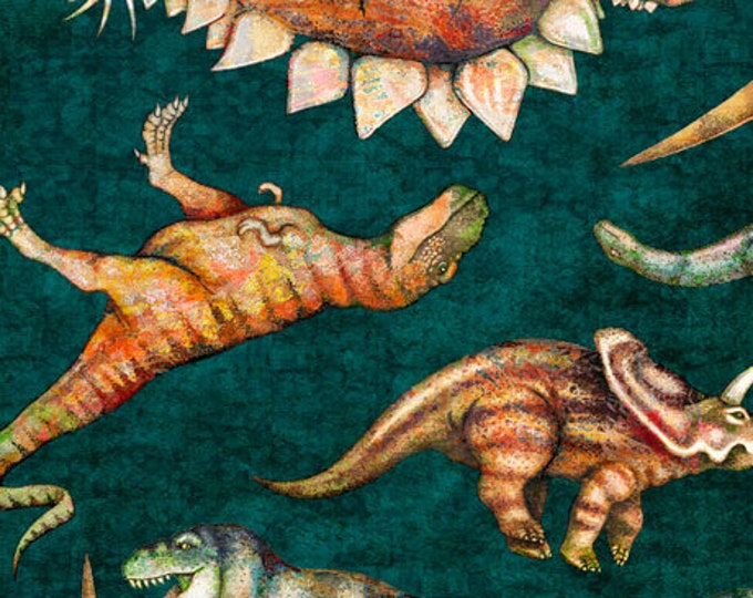 Quilting Treasures Lost World Realistic Large Dinosaur Dan Morris Teal Fabric Blue 26800-Q BTY