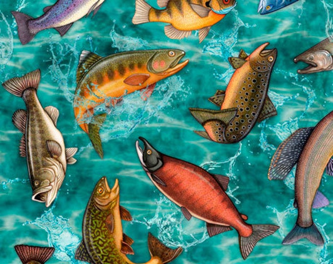 Quilting Treasures Fresh Catch Dan Morris Fishing Fish Trout Bass Salmon Turquoise Aqua Teal Blue Fabric 27205-Q BTY