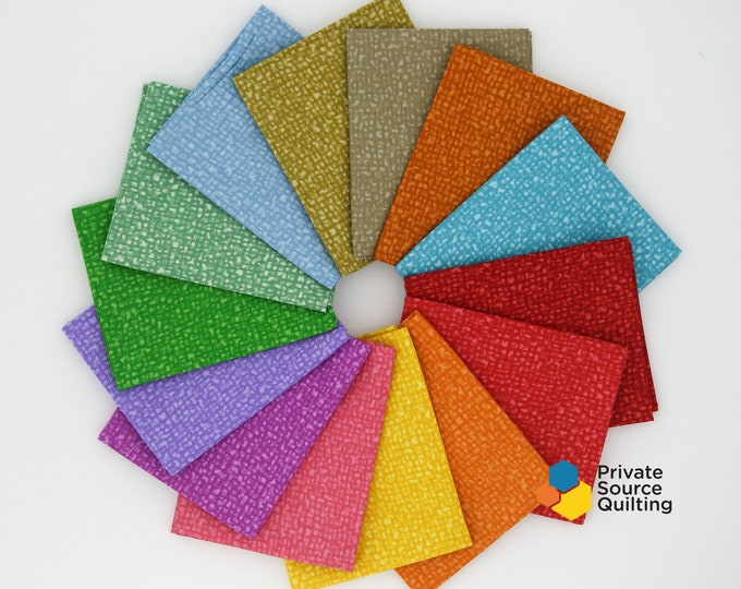 Windham Bedrock Texture Blender Jelly Bean Red Pink Yellow Green Fabric 14 Fat Quarter Bundle