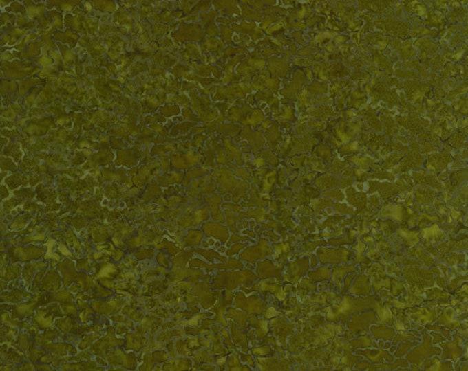 RJR Jinny Beyer Malam Batik Olive Green Mottled Batik 1766-007 Fabric BTY