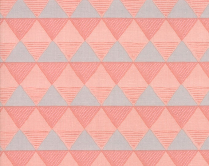 Moda Twilight by One Canoe Two Peachy Pink Gray Triangle Fabric 36034-14 BTY