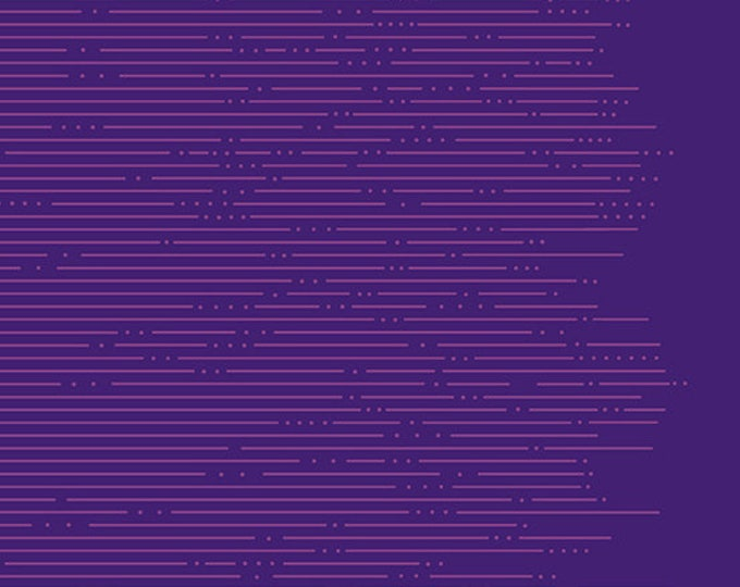 Andover Redux Giucy Giuce Hyperbolic Viola Purple Line Dot Morse Code Fabric BTY 9069-P