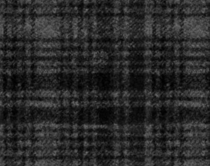 Maywood Woolies Black on Grey Gray Large Windowpane Plaid FLANNEL Fabric 18501-J BTY
