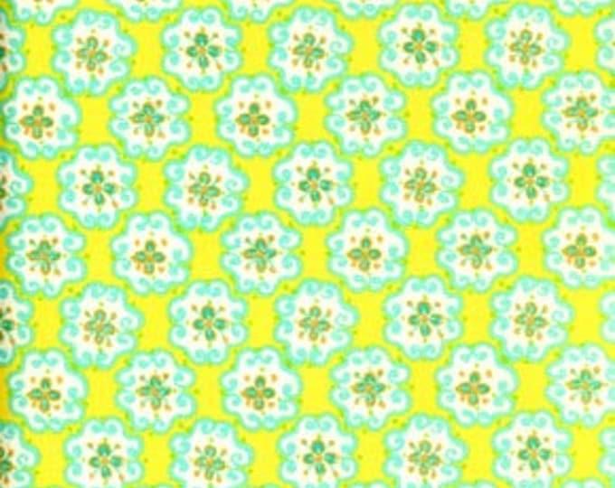 Free Spirit  Very Rare Dena Designs Sun Drop Blossoms on yellow beckground  Cotton DF10 Blossoms BTY
