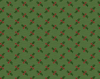 Marcus Old Sturbridge Village Civil War Christmas Green Small Floral Background Fabric 3157-0114 BTY