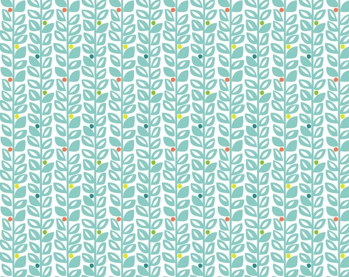 Blend Sundaland Jungle Katy Tanis Climbing Vines White Blue Leafy Leaf Fabric BTY