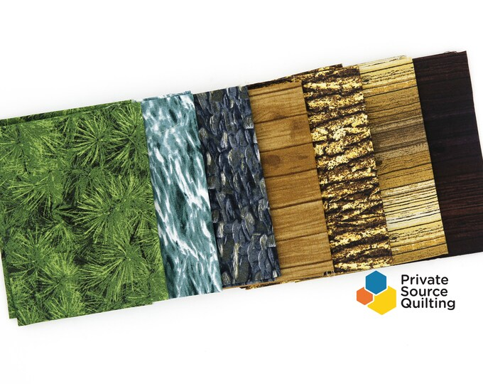Windham Landscapes Natural Texture Pebbles Wood Water Waves Leaf Fabric 7 Fat Quarters FQ