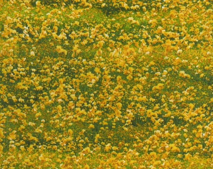 RJR Danscapes Dan Morris Flower Fields Yellow Green Fabric 1827-002 BTY