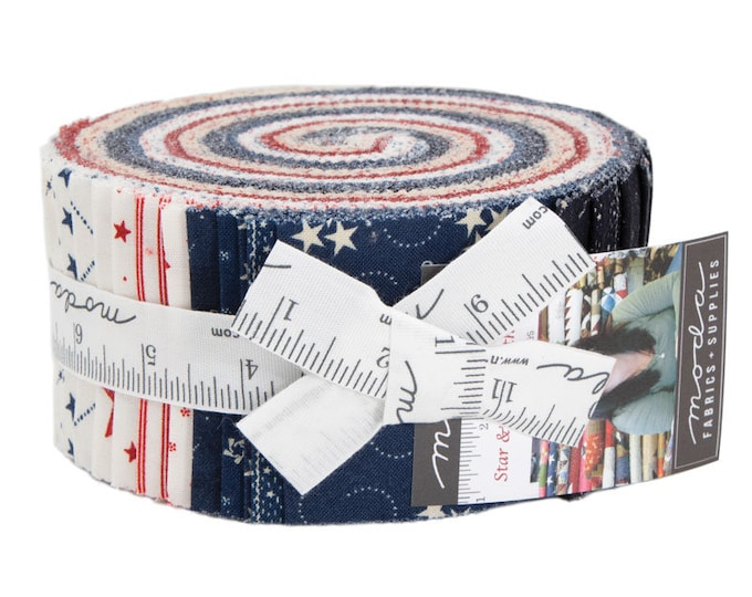 Moda Primitive Gatherings Star and Stripe Gatherings Red White Blue Patriotic Jelly Roll 2.5 Fabric Strips