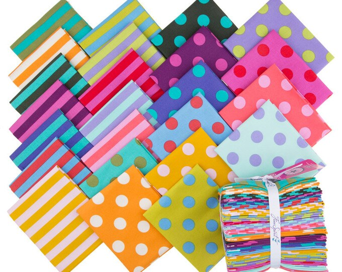 Tula Pink Pom Poms and Tent Stripes All Star Coordinates 24 Fat Quarter Fabric Bundle