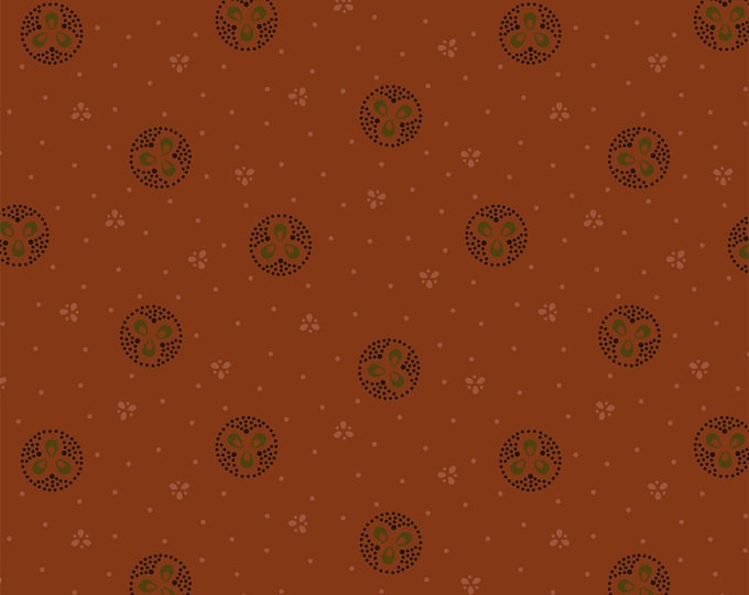Windham Kindred Spirits Orange Rust with Circles Civil War Reproduction 40207-2 Fabric BTY