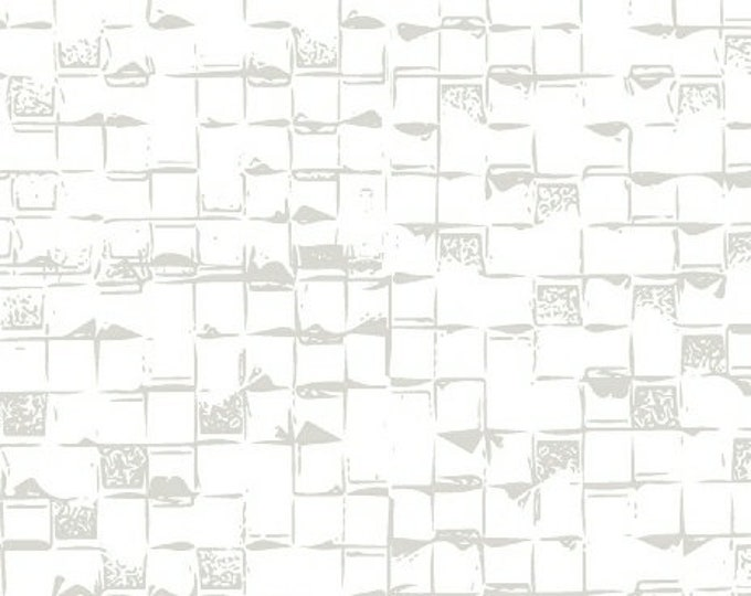 Windham Beyond the Reef Natalie Barnes Homeward White Gray Grey Square Shingle Fabric BTY 50811-7