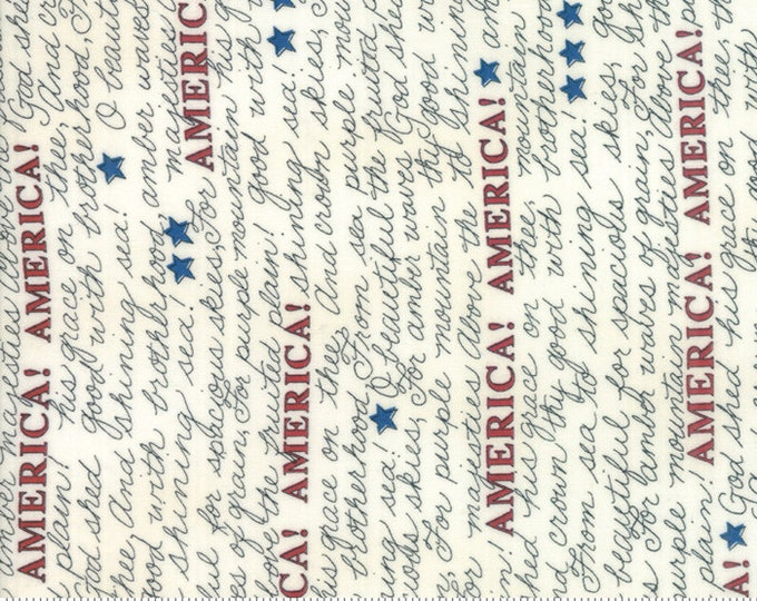 Moda Land That I Love Deb Strain Barn Wood White Cream America! Writing Patriotic Fabric 19882-12 BTY