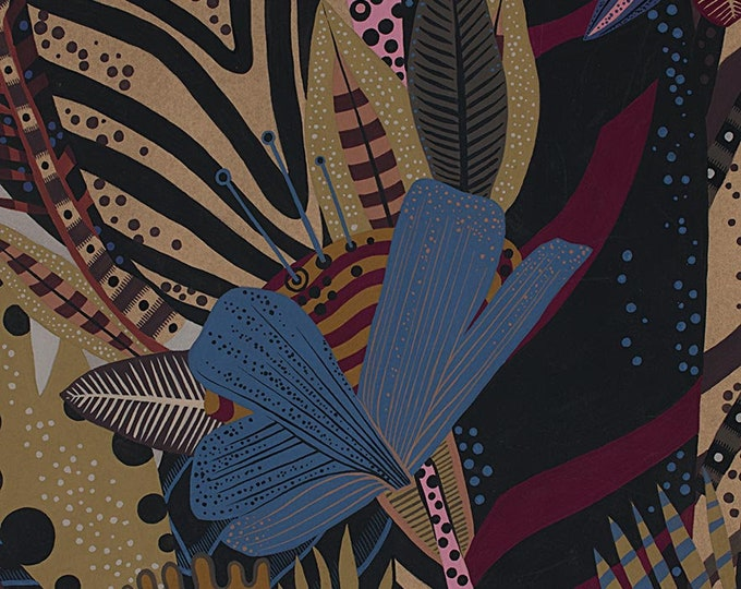 Alexander Henry Nyara African American Disco Retro Brown Purple Floral 8724-B Fabric BTY