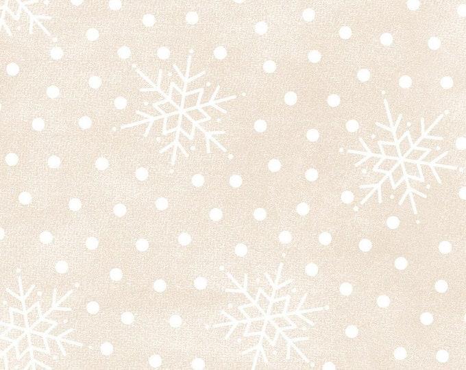 Maywood WOOLIES Most Wonderful Time Holiday Christmas Beige Ecru Polka Dot Snowflake Flannel Fabric 9215-E BTY