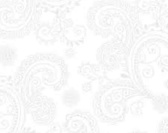 Quilting Treasures QT Fabrics Avalon White Gray Paisley Floral Cotton 108 WIDE Fabric 3 yard cut 26312-Z
