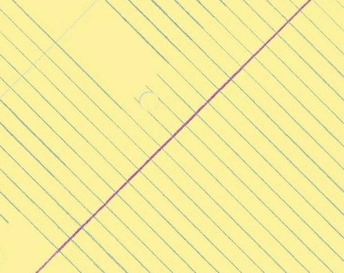 Windham Heather Givans Jot Sunshine Yellow College Ruled Paper White Blue 50455-2 Fabric BTY