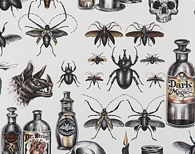 Alexander Henry Dark Magic Halloween Bugs Potions Spider Death 8737-A Fabric BTY