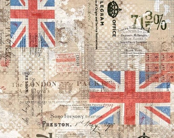 Tim Holtz - Correspondence - Royal Mail Great Britain Writing Fabric PWTH054 BTHY