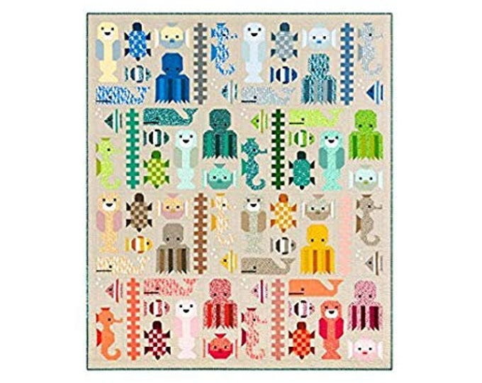Awesome Ocean Elizabeth Hartman Quilt Modern Pattern Complete Fabric Quilt Kit