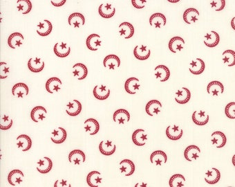 Moda Liberty Gatherings White with Red Moon Star Patriotic Fabric 1200-21 BTY