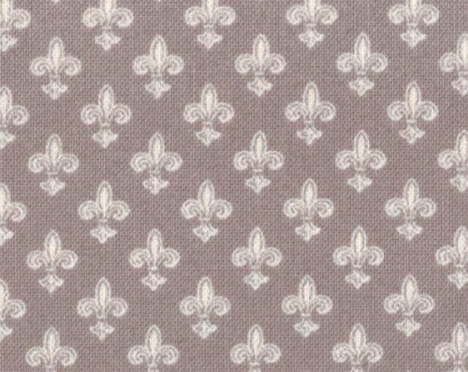 Moda Puttin on the Ritz Grey Gray Cream Tan Fleur de Lis Fabric BTY 2825-17