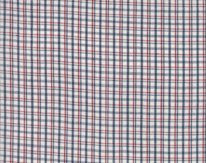 Moda Liberty Gatherings WOVENS White Tan with Red Navy Plaid Fabric 12709-17 BTY