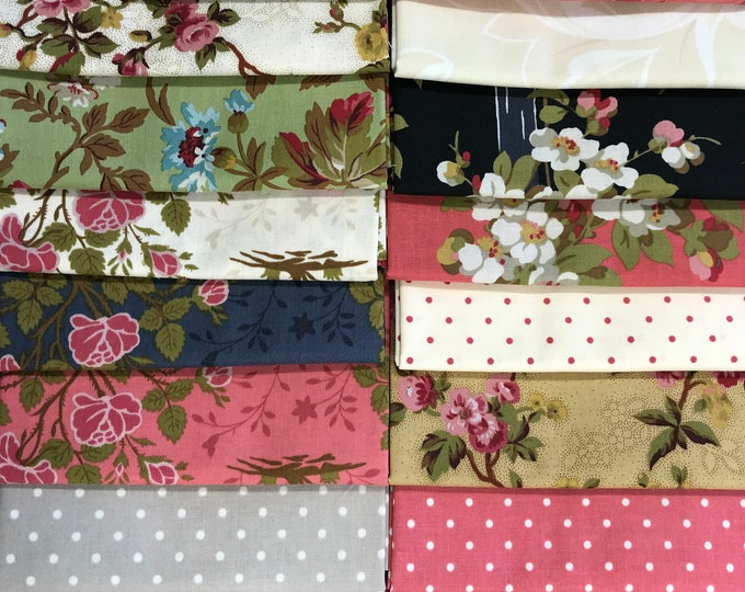 20 Robyn Pandolph Rose Cream Pink Black Garden Gate Shabby Fat Quarters Fabric