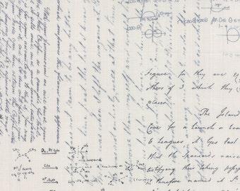 Moda Zen Chic Modern Background Charcoal Fog Physics Chemistry Writing Fabric 1581-15 BTHY