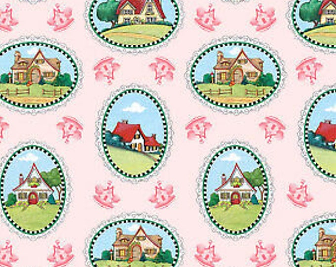 Quilting Treasures QT Mary s Journey 1649 26548 p Pink houses Fabric BTY