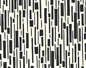 Windham Beyond the Reef Hand Maker Bamboo Black White Line Rectangle Natalie Barnes Fabric BTY