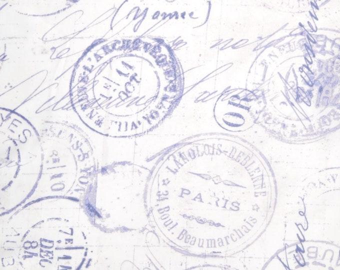 Free Spirit Correspondence Tim Holtz Postal Stamp Blue White 108 Wide Quilt Back Fabric QBTH001 2.5 yard Cut