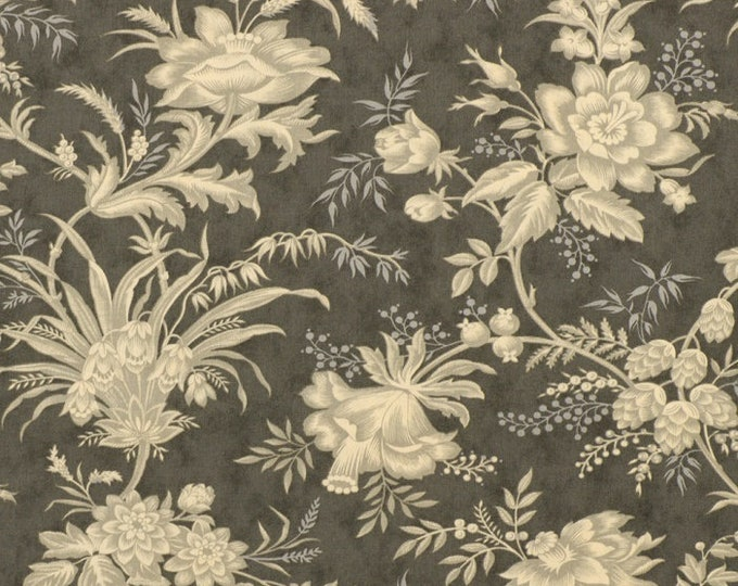 Moda Atelier 3 Sisters Shabby Chic Drapery Charcoal Gray Grey Taupe Floral OOP Fabric 44052-26 FQ
