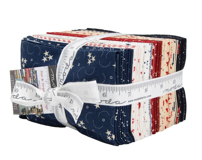Moda Star and Stripe Gatherings Primitive Gatherings Red White Blue Patriotic 40 Fat Eighths Fabric F8 Bundle