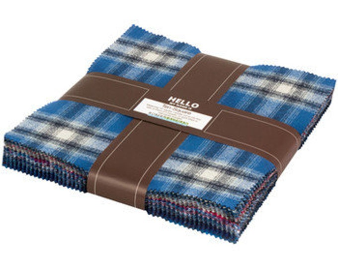Kaufman Mammoth Flannel Blue Black Red Plaid Flannel Layer Cake 42 Fabric 10 inch Squares