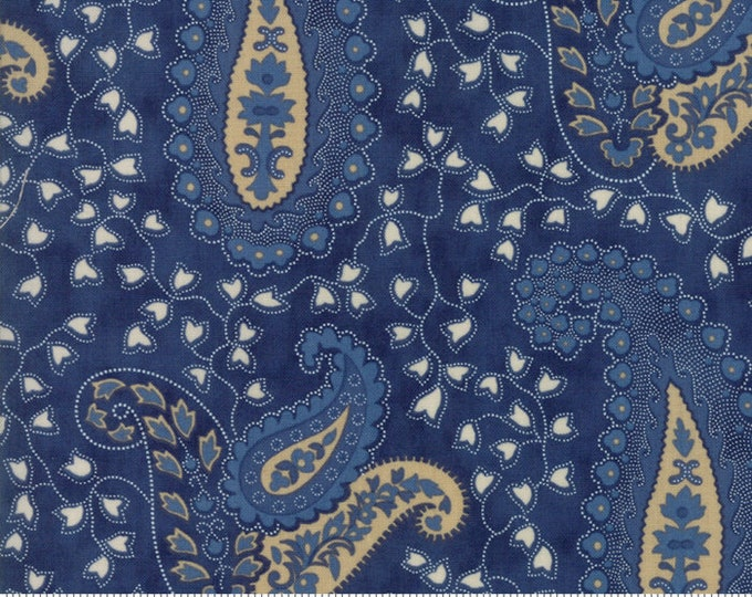 Moda Crystal Lake Minick and Simpson Navy Beige Tan Paisley Swirl Dot Floral Fabric 14870-12 BTY