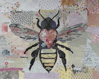 Fiberworks Laura Heine Collage HONEY BEE Insect Quilt Pattern 45x36