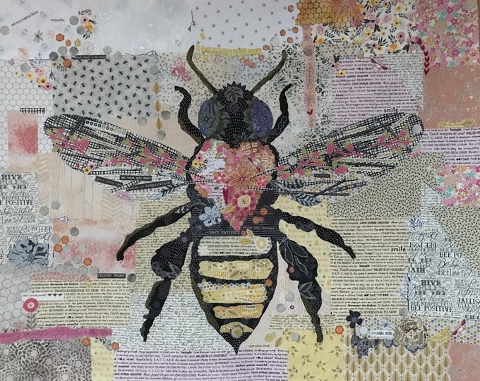 Fiberworks Laura Heine Collage HONEY BEE Insect Quilt Pattern 45x36
