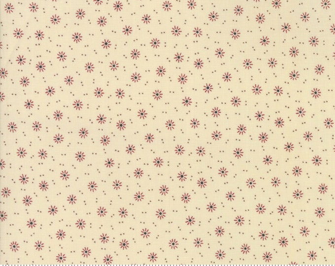Moda Jos Shirtings by Jo Morton Cream Gray Grey Beige Red Floral Civil War Fabric 38041-22 BTY